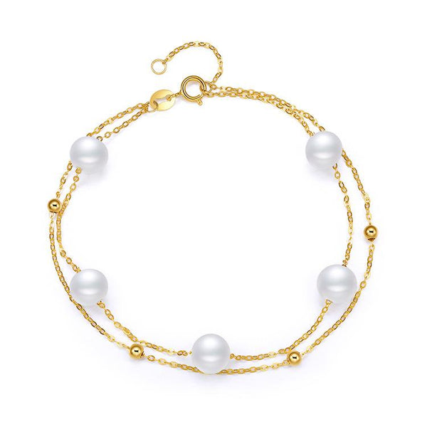 6.5-7mm Freshwater Pearl Double Chain Bracelet in 18K Gold - Ables Mall