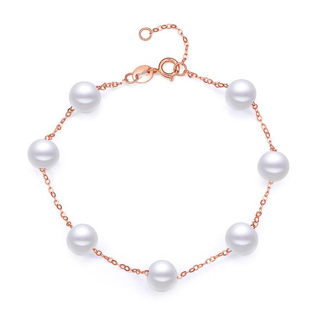 6.5-7mm Freshwater Pearl Chain Bracelet in 18K Gold - Ables Mall