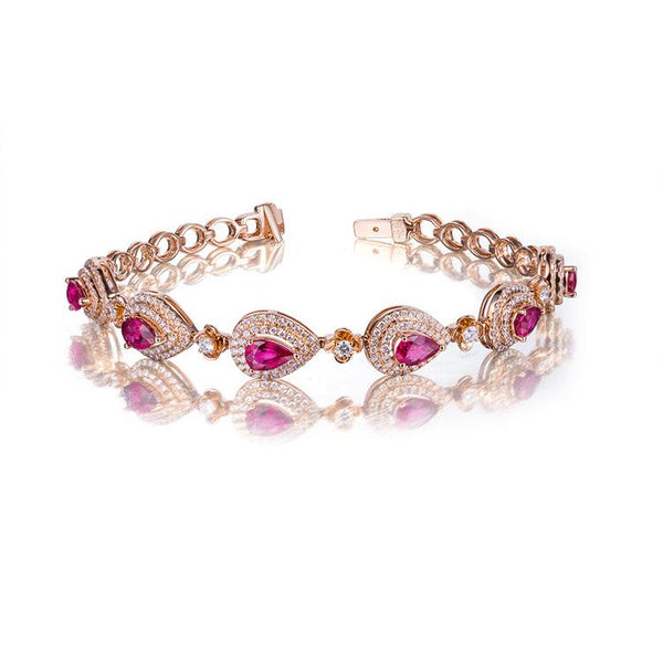 3.408CT Natural Ruby Diamond Accented Teardrops Section Chain Bracelet in 18K Gold - Ables Mall