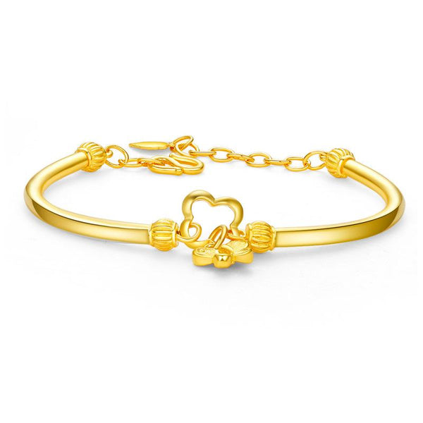 Butterfly and Clover Charm Bracelet in 24K Gold - Ables Mall