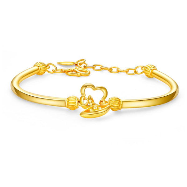 Evil Eye and Clover Charm Bracelet in 24K Gold - Ables Mall