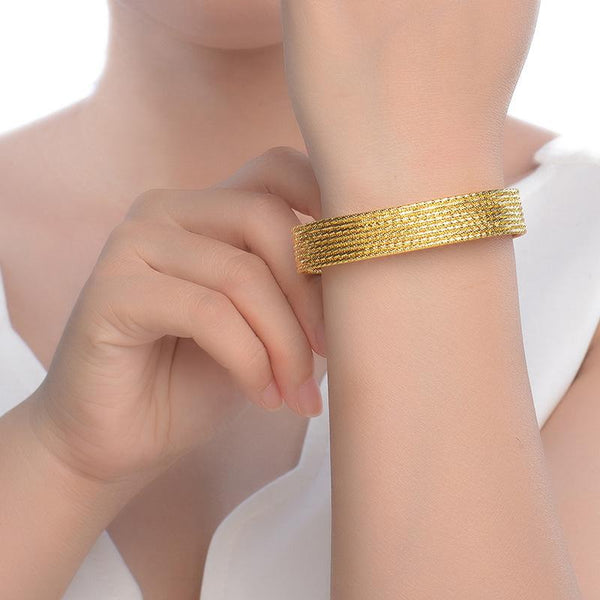 8 Rows Faceted Bangle Chain Bracelet in 24K Gold - Ables Mall