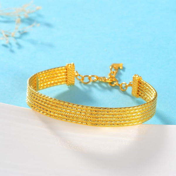 6 Rows Faceted Bangle Chain Bracelet in 24K Gold - Ables Mall
