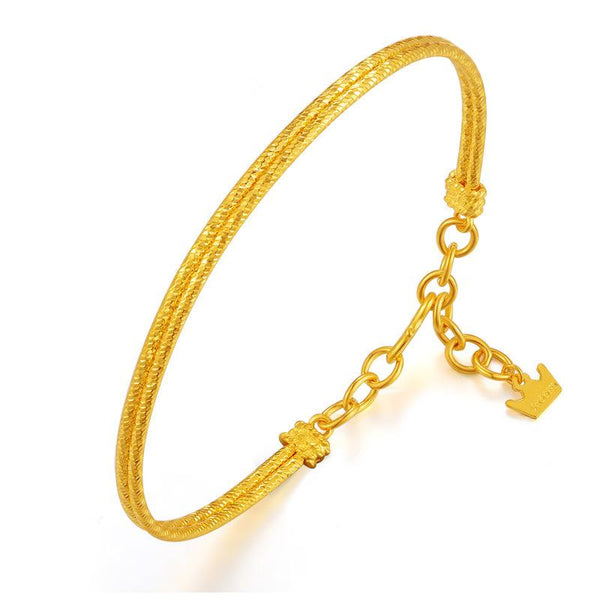 2 Rows Faceted Bangle Chain Bracelet in 24K Gold - Ables Mall