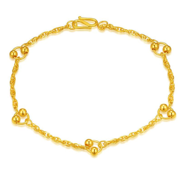 Beads in a Ring Sectioned Chain Bracelet in 24K Gold 17.5cm Length - Ables Mall