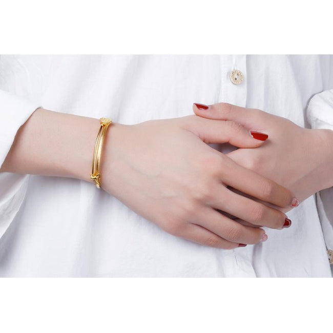 Dog and Lock Lucky Adjustable Bangle Bracelet in 24K Gold - Ables Mall