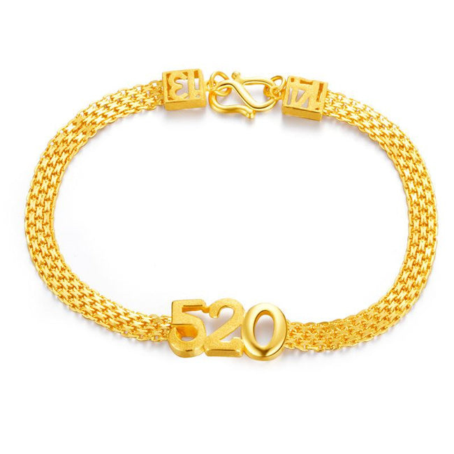 Numbers 5201314 Love You Forever Chain Bracelet in 24K Gold - Ables Mall