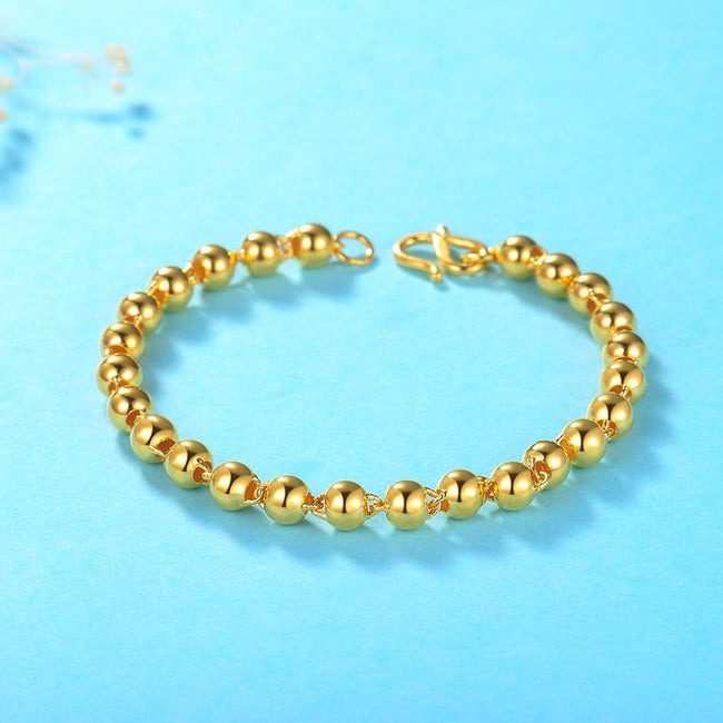 17cm Polished Beads Chain Bracelet in 24K Gold - Ables Mall