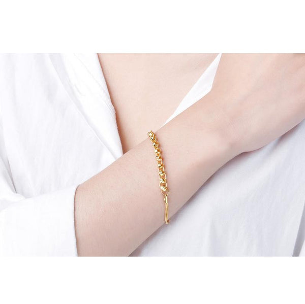 Patterned Beads and Hoops Snake Chain Bracelet in 24K Gold 17cm - Ables Mall
