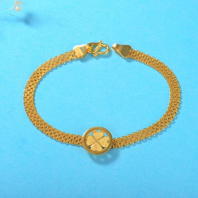 Hearts Clover Charm Wide Chain Bracelet in 24K Gold 16.5cm - Ables Mall
