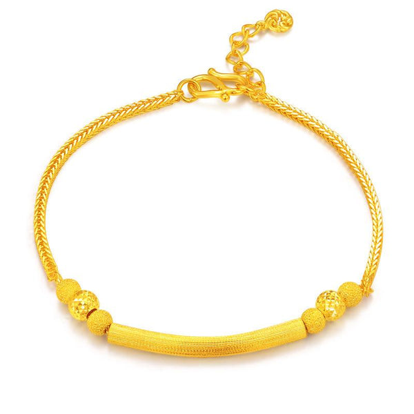 Matt and Faceted Beads Long Bar Wheat Chain Bracelet in 24K Gold 18cm - Ables Mall