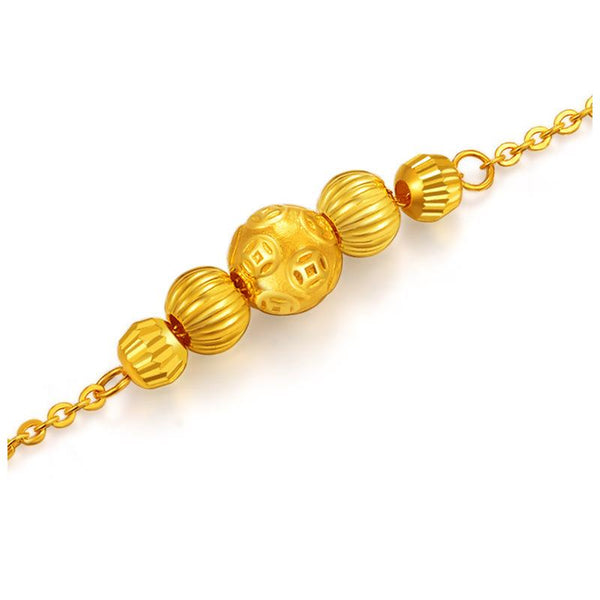 5 Patterned Beads Cable Chain Bracelet in 24K Gold 19cm - Ables Mall