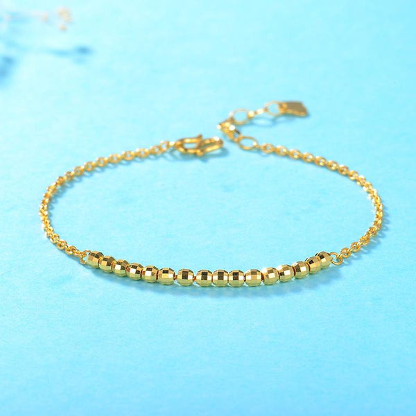Faceted Beads Cable Chain Bracelet in 24K Gold 20cm - Ables Mall