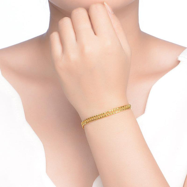 Solid 999 Gold Curb Chain Bracelet in 24K Gold 19.5cm - Ables Mall