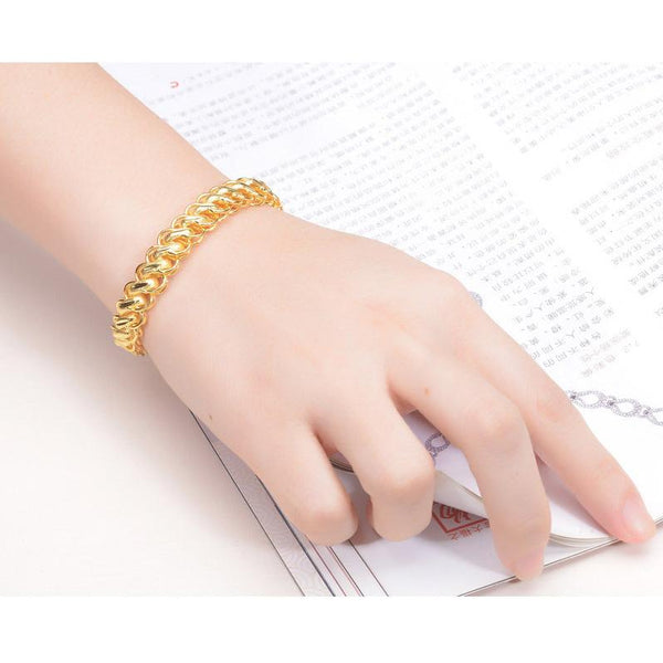 Double Dragon Thai Rolo Chain Bracelet in 24K Gold 20cm - Ables Mall