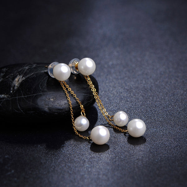 Freshwater Pearl 3 Pearls Drop Earrings in 18K Gold - Ables Mall