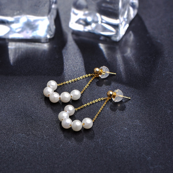 Freshwater Pearl 5 Pearls Chandelier Drop Earrings in 18K Gold - Ables Mall