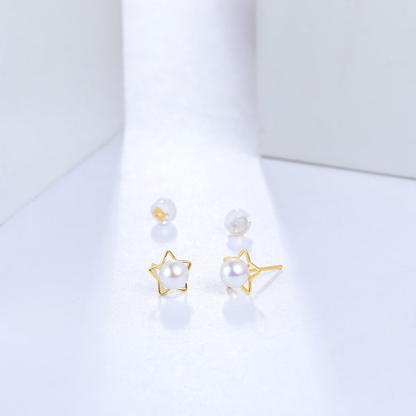 Freshwater Pearl Star Stud Earrings in 18K Gold - Ables Mall