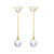 Freshwater Pearl Butterfly Drop Earrings in 18K Gold - Ables Mall