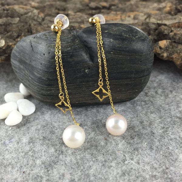 Clover Star And Freshwater Pearl Drop Earrings in 18K Gold - Ables Mall