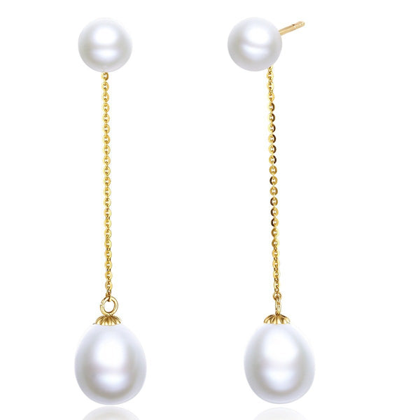Freshwater Pearl Drop Earrings in 18K Gold - Ables Mall