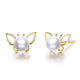 Freshwater Pearl Butterfly Stud Earrings in 18K Gold