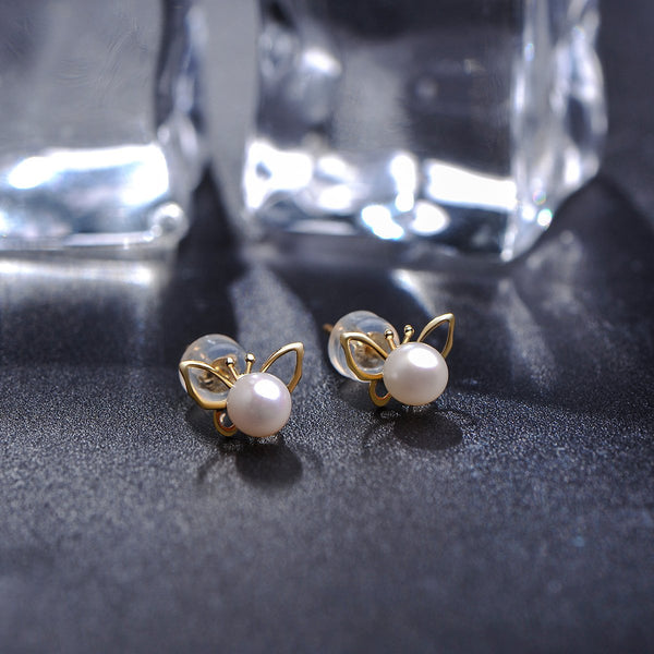 Freshwater Pearl Butterfly Stud Earrings in 18K Gold - Ables Mall