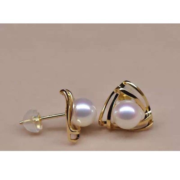 Freshwater Pearl Triangle Stud Earrings in 18K Gold - Ables Mall