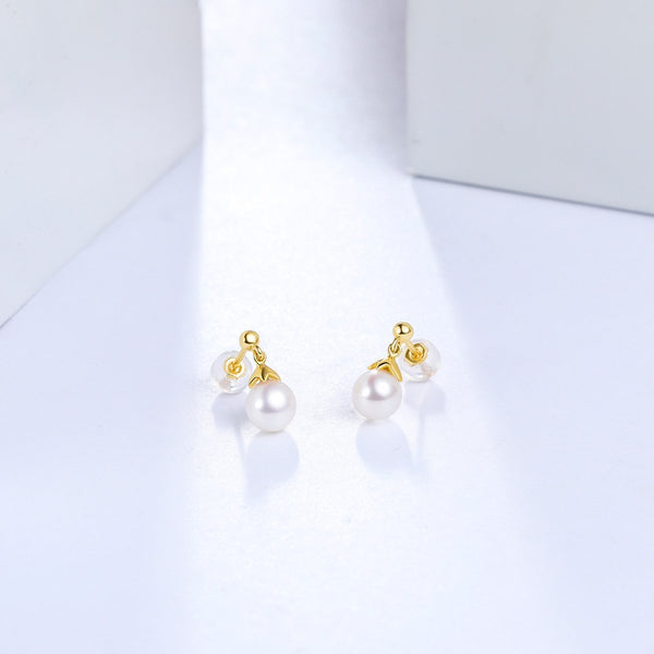 Freshwater Pearl Stud Post Earrings in 18K Gold - Ables Mall