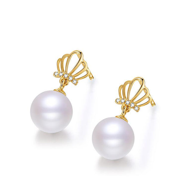 Freshwater Pearl Diamond Accent Crown Queen Stud Earrings in 18K Gold - Ables Mall