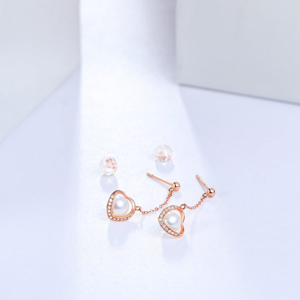 Freshwater Pearl Diamond Accent Love Heart Drop Earrings in 18K Gold - Ables Mall