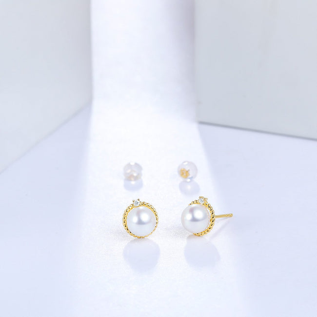 Freshwater Pearl Diamond Accent Halo Stud Earrings in 18K Gold - Ables Mall