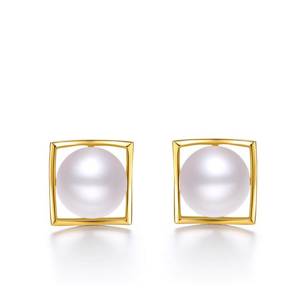 Freshwater Pearl Square Stud Earrings in 18K Gold - Ables Mall