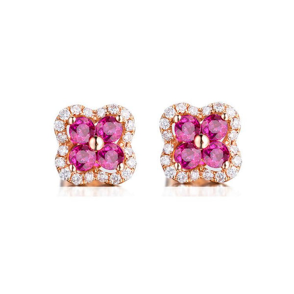 Natural Ruby Diamond Accent Flower Clover Stud Earrings in 18K Gold - Ables Mall
