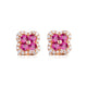 Natural Ruby Diamond Accent Flower Clover Stud Earrings in 18K Gold