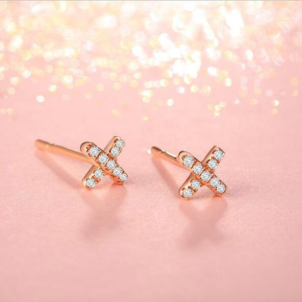 Diamond Accent Cross Stud Earrings in 18K Gold - Ables Mall