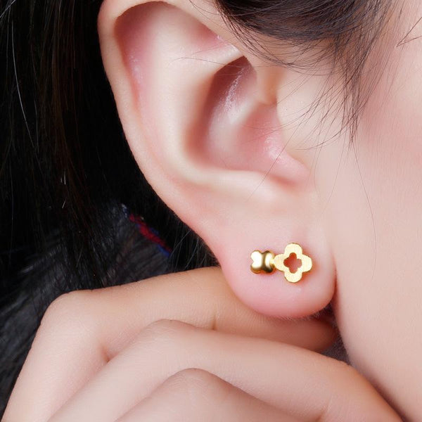 Cutout And Solid Clover Stud Earrings in 24K Gold - Ables Mall