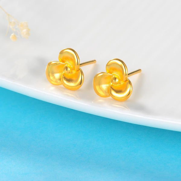 Solid Rose Flower Stud Earrings in 24K Gold - Ables Mall