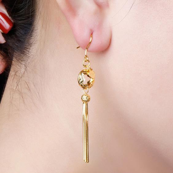 Cutout Star With Snake Chain Tassel Drop Earrings in 24K Gold - Ables Mall