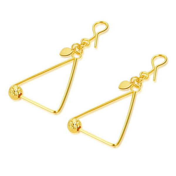 Faceted Ball in Triangle Drop Earrings in 24K Gold - Ables Mall