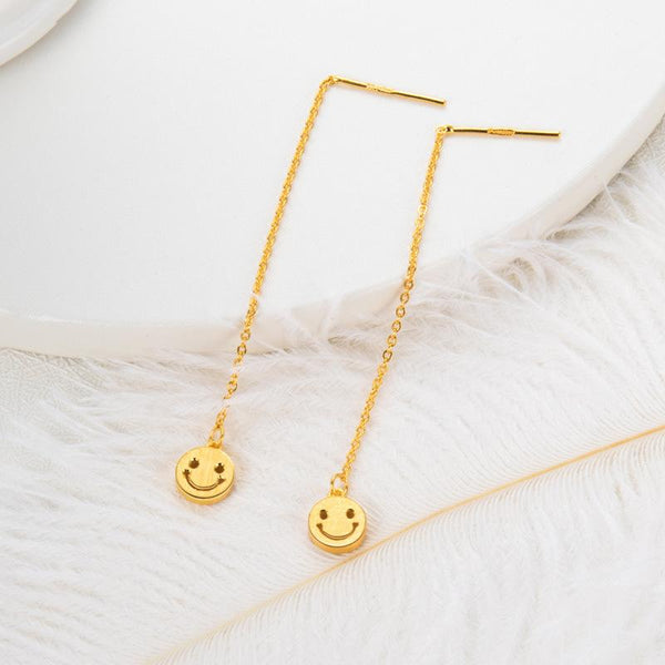 Matt Round Disc Smiley Threader Emoji Earrings in 24K Gold - Ables Mall