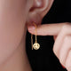 Matt Round Disc Smiley Threader Emoji Earrings in 24K Gold