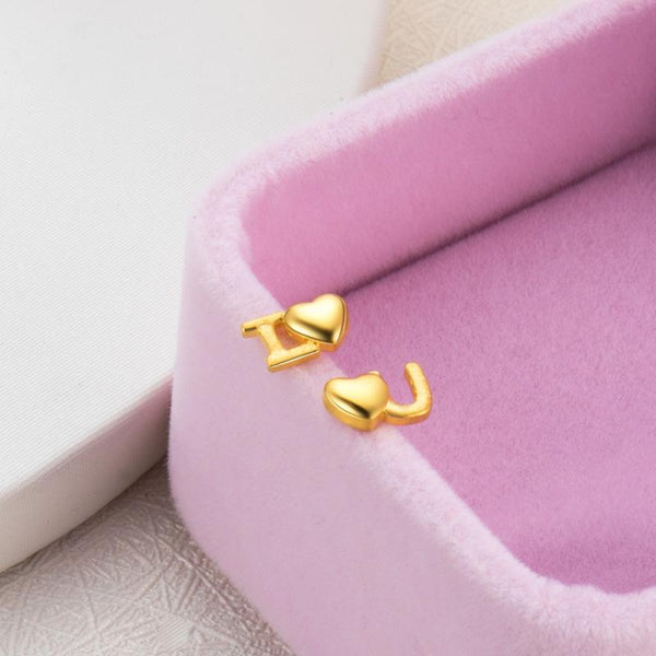 Matt And Polished Love Initial Stud Earrings in 24K Gold - Ables Mall
