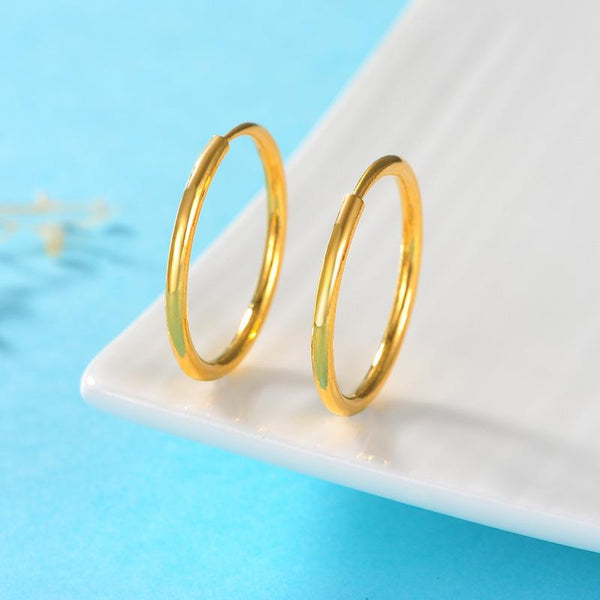Polished Loop Round Hoop Earrings in 24K Gold - Ables Mall