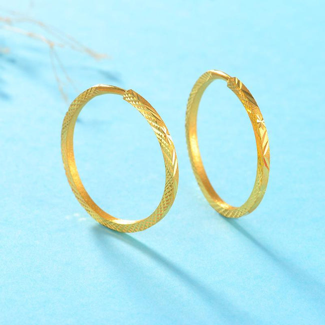 Milled Pattern Sandblasted Hoop Earrings in 24K Gold - Ables Mall