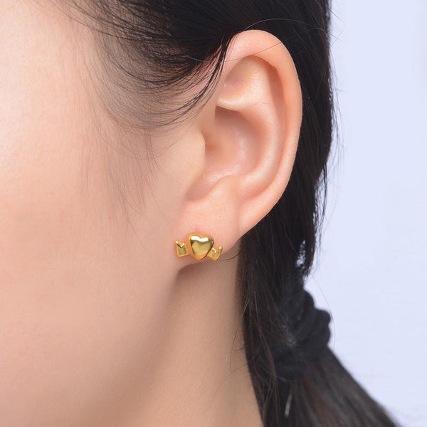 Winged Heart Stud Earrings in 24K Gold - Ables Mall