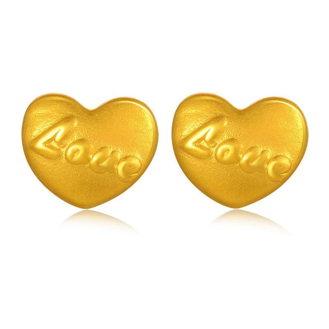 Love Heart Stud Earrings in 24K Gold - Ables Mall