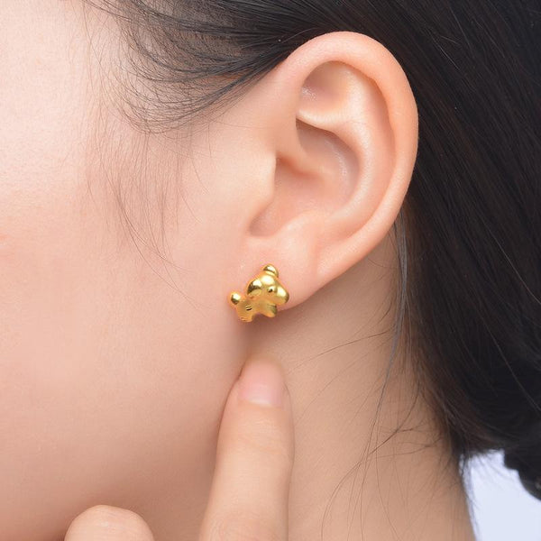 Baby Dog Puppy Stud Earrings in 24K Gold - Ables Mall