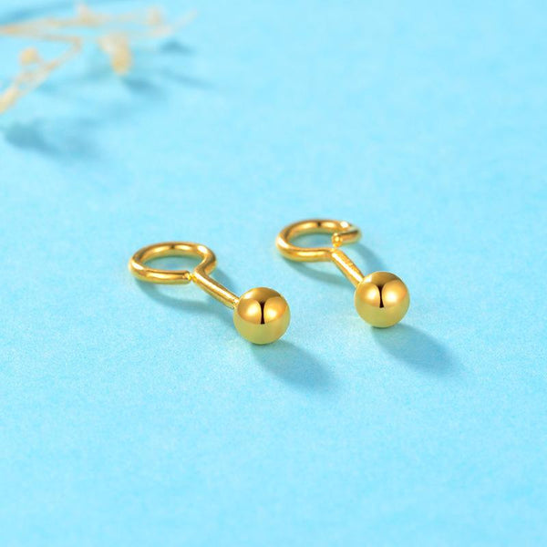 Solid 24K Gold Bead Ball Stud Earrings - Ables Mall