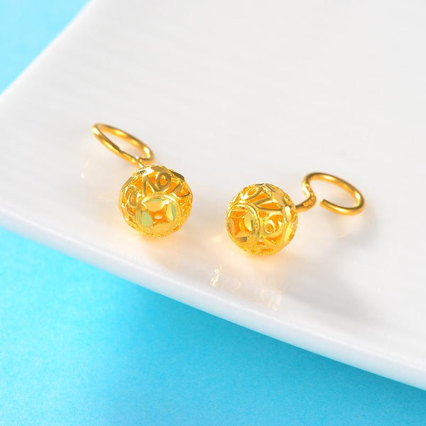 Solid 24K Gold Filigree Ball Forever Stud Earrings - Ables Mall